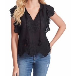 NWT Jessica Simpson Aster Flutter Sleeve Top